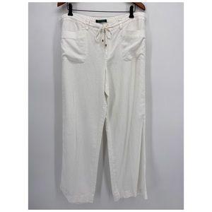 Lauren Ralph Lauren White Linen Drawstring Pants